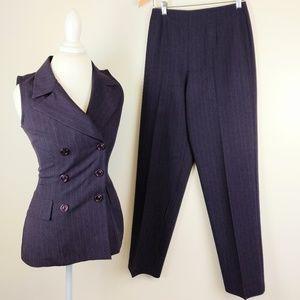 Purple Pinstripe Pant Suit Set